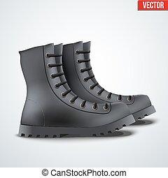 couro, pretas, botas, exército