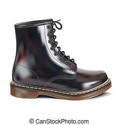 couro preto, boot.