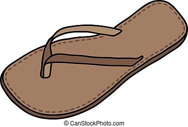 couro, sandália
