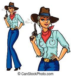 cowgirl, fumar, bonito, segurando, arma