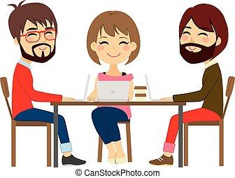 coworking, centro, pessoas