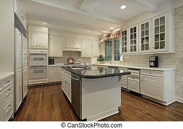 cozinha, colorido, cabinetry, creme