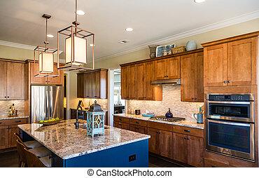 cozinha, granito, azulejo