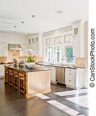 cozinha, modernos, interior