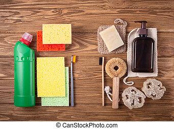 cozinha, natural, produtos, banho