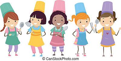 cozinhar, classe, crianças