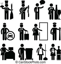 cozinheiro, garçom, motorista, bellman, mordomo
