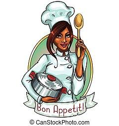 cozinheiro, pote, spoon., bonito