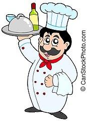 cozinheiro, vinho, refeição, segurando, caricatura