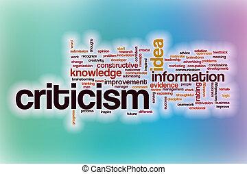 crítica, abstratos, palavra, nuvem, fundo