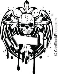 cranio, asas, crucifixos