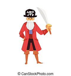 cranio, personagem, -, caricatura, chapéu pirata, isolado, zangado, antigas, espada