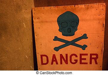cranio, sinal perigo, pretas, sob, vermelho