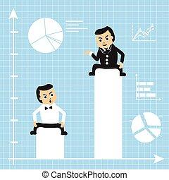 crescendo, homens negócios, gráficos