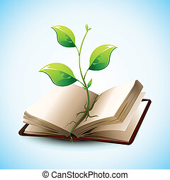 crescendo, planta, livro, abertos