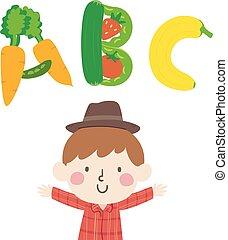 criança, agricultor, ilustração, menino