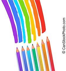 criança, arco íris, desenho, cores