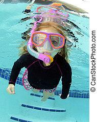 criança, bonito, piscina, natação