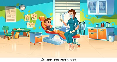 criança, clínica, odontólogo, dental, ou, escritório, paciente