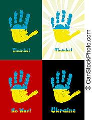 criança, handprint, vetorial, bandeira, pintura, ucrânia