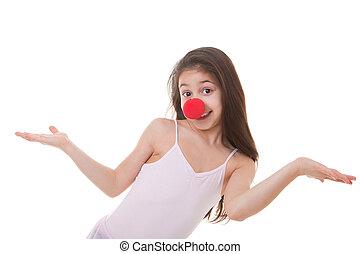 criança, nariz, palhaço, vermelho