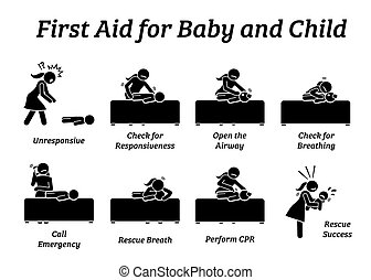 criança, tratamento, ajuda, vara, ou, criança, icons., salvamento, figuras, bebê, emergência, primeiro
