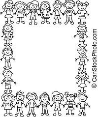 crianças, amizade, border-outline