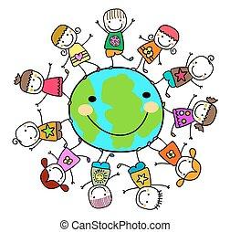 crianças, ao redor, terra planeta, tocando, feliz