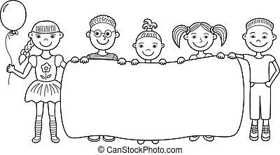 crianças, bandeira, caricatura, vazio, segurando