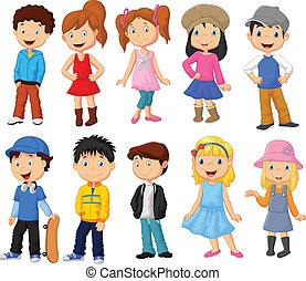 crianças, caricatura, cobrança, cute