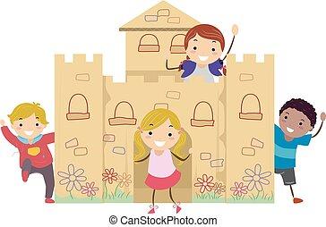 crianças, castelo, papelão, ilustração, jogo, stickman