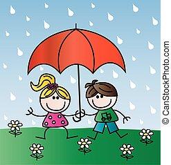 crianças, chuva, feliz
