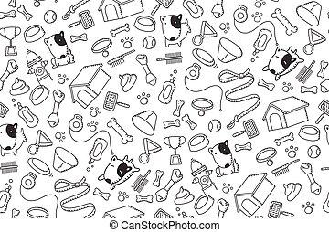 crianças, cor, padrão, cão, isolado, ilustração, seamless, equipamento, jogo, experiência preta, branca, mão, desenho