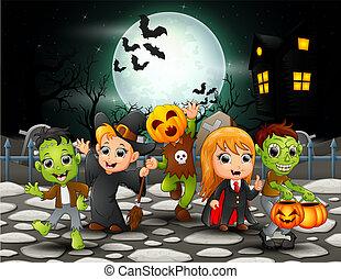 crianças, dia das bruxas, lua, cheio, fundo, feliz