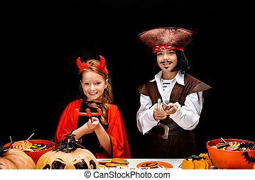 crianças, diabo, dia das bruxas, trajes, pirata