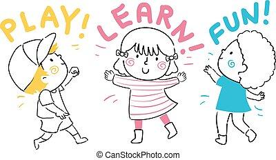 crianças, divertimento, aprender, ilustração, jogo
