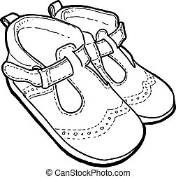 crianças, esboço, verão, desenho, sandálias, pequeno