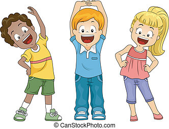 crianças, exercício
