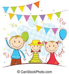 crianças, fundo, celebração