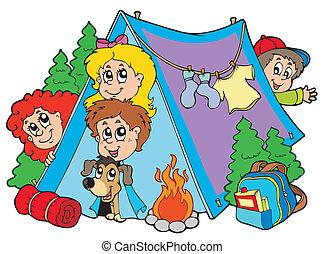 crianças, grupo, acampamento