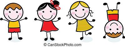crianças, grupo, doodle, isolado, branca, feliz