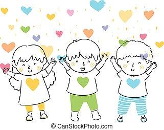 crianças, ilustração, ame corações, chuveiro