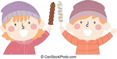 crianças, ilustração, vara, chocolates