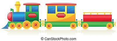 crianças, ilustração, vetorial, trem