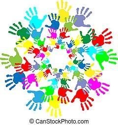 crianças, impressões, coloridos, mão