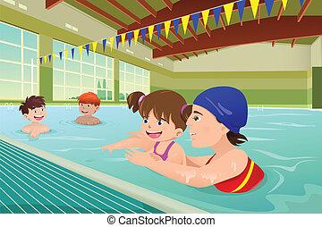crianças, indoor, lição, tendo, piscina, natação
