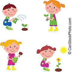crianças, jardinagem, cobrança