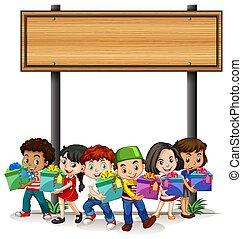crianças, modelo, desenho, segurando, bandeira, presente