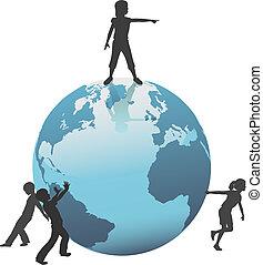 crianças, movimento, futuro, terra, mundo, salvar