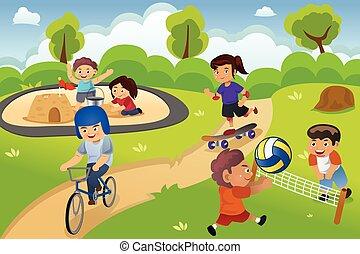 crianças, pátio recreio, tocando